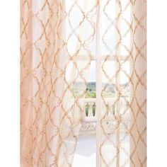 Sheer curtains with embroidery add color, interest, and privacy while still letting in plenty of daylight. Love this color. warm tones of blush, coral, and gold. Pink And Gold Curtains, Blush Curtains, Blush And Gold, Little Girl Rooms, New Room, Decoration, Living Room Decor, Bedroom Ideas, Bedroom Inspiration