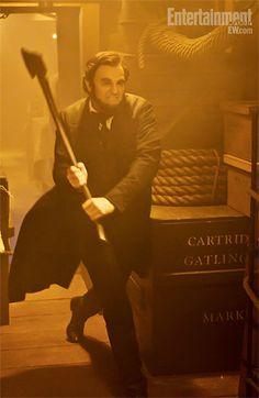 Abraham Lincoln killing vampires. Manly