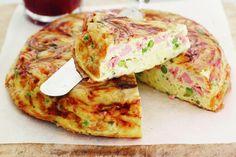Ham, cheese and pea frittata