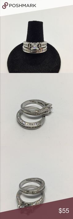 Engagement Ring 2 piece set size 7 LAST ONE🌹 9.25 Sterling Silver Stamped with Swarovski Crystals Swarovski Jewelry Rings