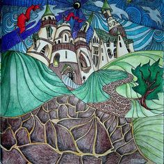 Instagram media s.harris35460 - Castle from Magical City.#magicalcity#inktense#lizziemarycullen #adultcolouring