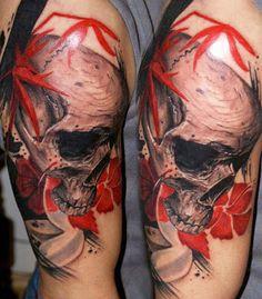 Realism Skull Tattoo by Csaba Kolozsvari
