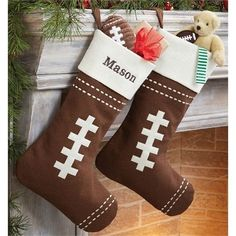 Cool Christmas stockings for your little football fan! Fill with your favorite Seahawks or Mud Pie gear!