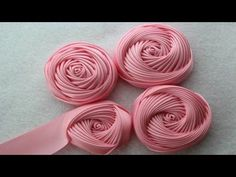 How Make a Rose Flower with Ribbon / Flor Torbellino Paso a Paso / Como fazer flor de fita. Ribbon Art, Diy Ribbon, Ribbon Crafts, Flower Crafts, Ribbon Rose, Felt Flowers, Diy Flowers, Fabric Flowers, Paper Flowers