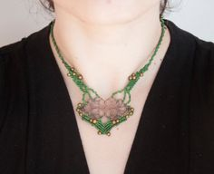 Gypsy micromacrame classic green necklace by OuiClementine on Etsy