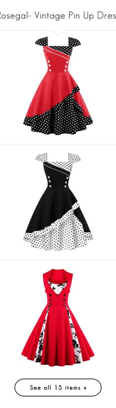 """Rosegal- Vintage Pin Up Dress"" by fshionme ❤ liked on Polyvore featuring dresses, vintage corset dresses, polka dot corset, red corset, corsette dress, vintage polka dot dress, vintage day dress, dot dresses, polka dot corset dress and vintage fit and flare dresses"