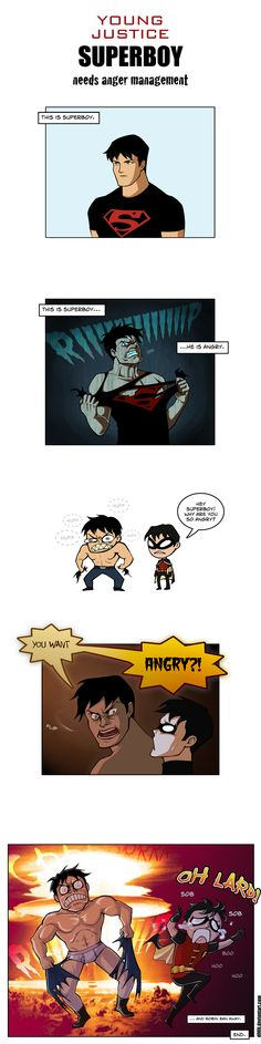 young justice superboy angry by d00li