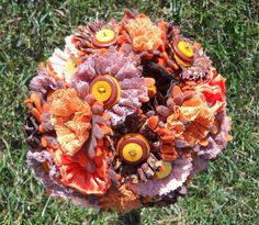 Autumn Splendor Orange and Brown Wedding Bouquet