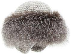 Inverni Cashmere Knit Hat with Fox Fur Brim, Gray on shopstyle.com