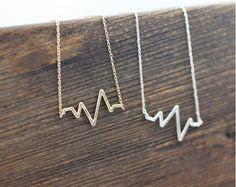 Heart beat necklace ZigZag Wave Pattern Necklace- geometric zigzag jewelry N0047G (11.50 USD) by zizibejewelry
