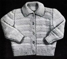 Cardigan knit pattern from Fashions in Wool for Little Tots, originally published by Hilde, Volume 115.