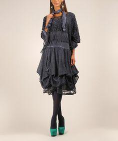 Look at this #zulilyfind! Blue Lace Ruffle Dress & Scarf by Maille Girl #zulilyfinds