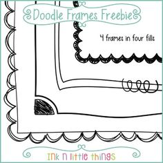 Doodle Frames Freebie FREEBIE This set includes 4 free doodle frames. Most frames come in four fills for a total of 14 doodle frames. Zentangle, Doodle Frames, Doodle Art, Doodle Borders, Borders Free, Free Doodles, Frame Clipart, Borders And Frames, Cool Fonts