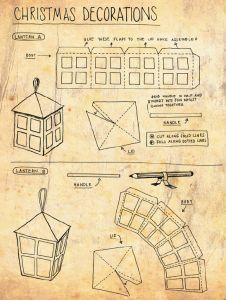 Paper Lantern Templates For Christmas – Fun for Christmas & Halloween Christmas Lanterns, Christmas Paper, Christmas Crafts, Christmas Decorations, Lanterns Decor, Paper Lanterns, Diy Dollhouse, Dollhouse Miniatures, Diy Paper