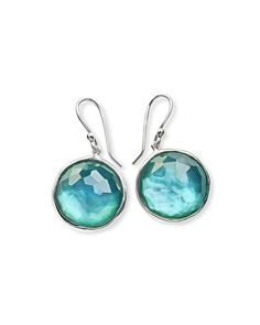 Faceted Single-Stone Drop Earrings in Denim Doublet, Silver - Ippolita