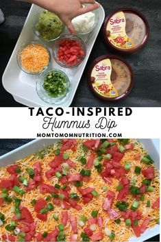 Taco-inspired Hummus Dip tastes exactly like eating a taco, but in hummus form! Made with Sabra taco hummus, this layered dip of all your favorite taco ingredients makes the perfect dip for any occasion. Healthy Side Dishes, Good Healthy Recipes, New Recipes, Healthy Snacks, Dinner Recipes, Cooking Recipes, Favorite Recipes, Italian Antipasto, Hummus Dip