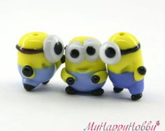 Minion Despicable me  Lampwork  Bead / Myhappyhobby