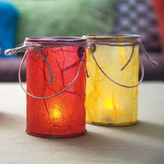Make these indoor lanterns with tissue paper and decoupage for a happy indoor camping event. Not sure if I need ALL these things, but, I'd be nice to do this! Camping Parties, Camping Games, Camping Theme, Camping Activities, Camping Crafts, Craft Activities, Fun Crafts, Crafts For Kids, Camping Ideas