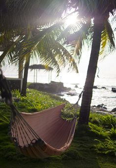 A hammock in the  sunset over the Caribbean ocean off the coast of Big Corn Island in Nicaragua