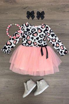 USA Girls Dress Outfit Toddler Baby Kids Clothing Cheetah Valentine Tutu Dress - October 26 2019 at Baby Girl Fashion, Cute Fashion, Kids Fashion, Fashion Clothes, Toddler Girl Style, Toddler Girl Outfits, Toddler Tutu, Baby Outfits, Kids Outfits