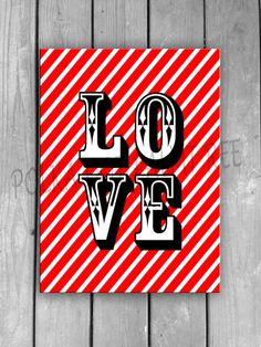 Love Red White Stripes Valentine Word Art Valentines Day Printable Decorations