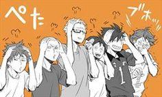 Hinata , Tanaka , Tskushima , Yamaguchi , Kuro and Oikawa (Kageyama pose)