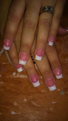 Solar pink and white nails