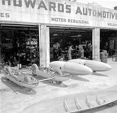 Bonneville Racers being built with aircraft belly tanks.  OMG!  I helped built a twin tank Bonneville  car very similar to this one!