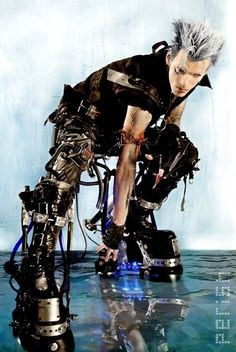 Probably the most extreme cyber goth boots Ive ever seen. Futuristic rather then the trending steam punk- I would get these and share em with the fiance. Cyberpunk Mode, Cyberpunk Fashion, Mode Inspiration, Character Inspiration, Character Design, Character Ideas, Character Art, Cosplay, Rivethead