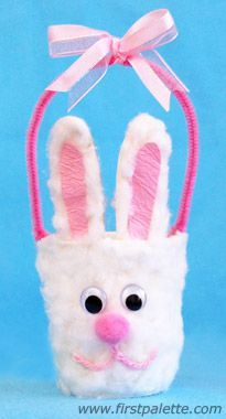 Create some cute mini Easter bunny baskets out of paper cups, pipe cleaners and a few other materials. Easter Craft Activities, Easter Arts And Crafts, Animal Crafts For Kids, Spring Crafts For Kids, Bunny Crafts, Craft Kids, Kids Crafts, Paper Cup Crafts, Paper Cups