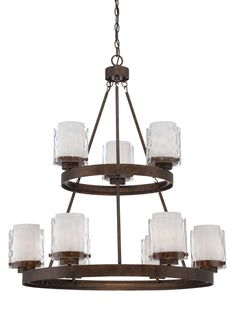 Get a dramatic lighting look with this Jeremiah Kenswick 9-light chandelier. It skillfully combines outer shades of clear hammered glass with inner alabaster shades, pairing them with a Peruvian bronze finish.