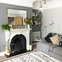 Home Decoration For Living Room Accent Walls In Living Room, Living Room Color Schemes, Living Room With Fireplace, Living Room Grey, Living Room Sofa, Home Living Room, Colour Schemes, 1930s House Interior Living Rooms, Victorian Terrace Interior