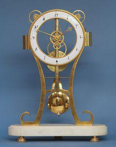c.1820 French Keyhole Skeleton Clock. - Sundialfarm Antique Watches, Antique Clocks, Vintage Watches, Mystery Clock, Skeleton Clock, Gear Clock, Modern Clock, Art Sites, Antique Stores