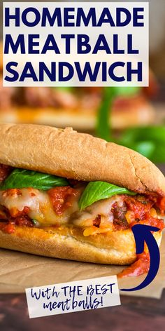 The BEST Meatball Sandwiches with homemade meatballs and marinara sauce! Recipes Using Pork, Beef Recipes For Dinner, Delicious Dinner Recipes, Yummy Snacks, Homemade Marinara, Meatball Sandwiches, Slow Cooked Chicken, Ground Beef Casserole