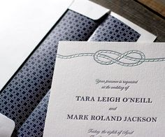 With sea breezes and letterpress waves, dreams of Nautical Classic were born - posh wedding invitations with traditional ties and modern style.