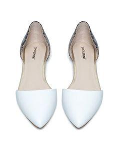 White Pointy-Toe Flats