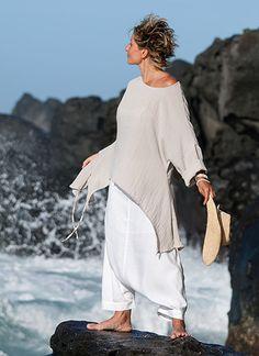 top déstructuré et sarouel blanc pour femme-:-AMALTHEE CREATIONS