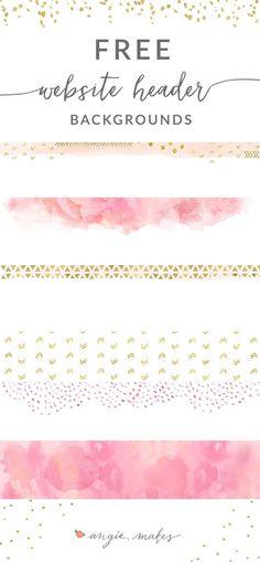 Free Pink + Gold Website Header Backgrounds - Angie Makes Design Websites, Web Design Tips, Design Blog, Free Design, Blog Header Design, Design Ideas, Website Design Inspiration, Layout Design, Photoshop