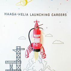How cool is this wall painting @ Haaga  #wallpainting #haagahelia #studentlife #opiskelu #opiskelijaelämää #wallpaint #fireextinguisher #foamextinguisher #vaahtosammutin
