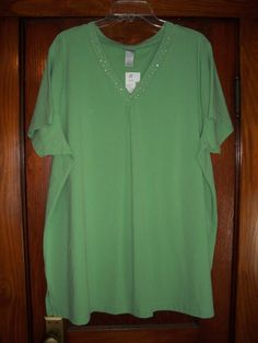 Fashion Bug 2X Top Green with Accents short sleeves cotton blend. Excellent Con | eBay