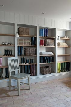 Agatha O l Mudroom with open cabinet shelves and brick flooring. Boot Room Utility, Utility Room Storage, Utility Shelves, Storage Room, Storage Ideas, Utility Room Designs, Boot Storage, Flur Design, Hallway Designs