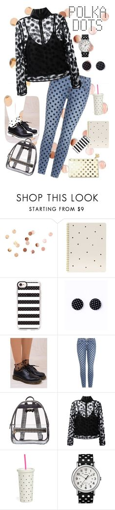"""Seeing Spots at School"" by trinity-reece on Polyvore featuring Umbra, Sugar Paper, Casetify, Current/Elliott, Betsey Johnson, House of Holland, Kate Spade and Timex"