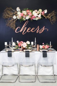 Bridal shower centerpiece ideas elegant navy wedding ideas navy weddings wedding trends and backdrops New Years Wedding, Trendy Wedding, Dream Wedding, Wedding Day, Wedding Reception, Wedding Tables, Reception Table, Dinner Table, Wedding Signs