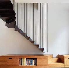 Fine stair with book shelf and storage