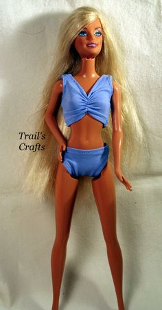 Handmade Barbie Doll Clothes Bathing Suit Style 2 by trailscrafts, 5.00