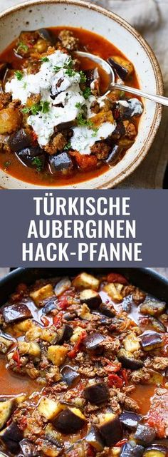 Turkish Eggplant Minced Meat Pan - Türkische Auberginen-Hackfleisch-Pfanne Turkish aubergine mince pan with crispy hamburger, eggplant, a thick tomato sauce and natural yoghurt. Everyone loves this simple recipe! Healthy Eating Tips, Healthy Nutrition, Healthy Snacks, Clean Eating, Healthy Recipes, Meat Recipes, Snack Recipes, Recipes Dinner, Carne Picada