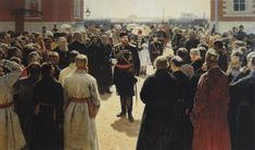 Aleksander III receiving rural district elders in the yard of Petrovsky Palace in Moscow.  Ilia Efimovich Repin