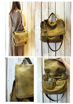 "Handmade Italian Vintage Brown Leather Bag ""TOBACCO BAG 3"""