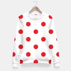 FITTED WAIST SWEATER RED WHITE DOTS