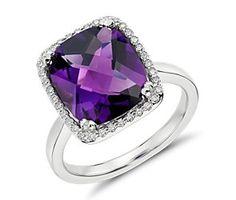 Amethyst and Diamond Halo Cushion-Cut Ring in 14k White Gold  #bluenile